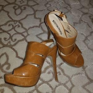 Boston Proper, camel, heels, tried on only.